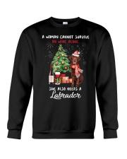 Christmas Wine and Chocolate Labrador Crewneck Sweatshirt thumbnail