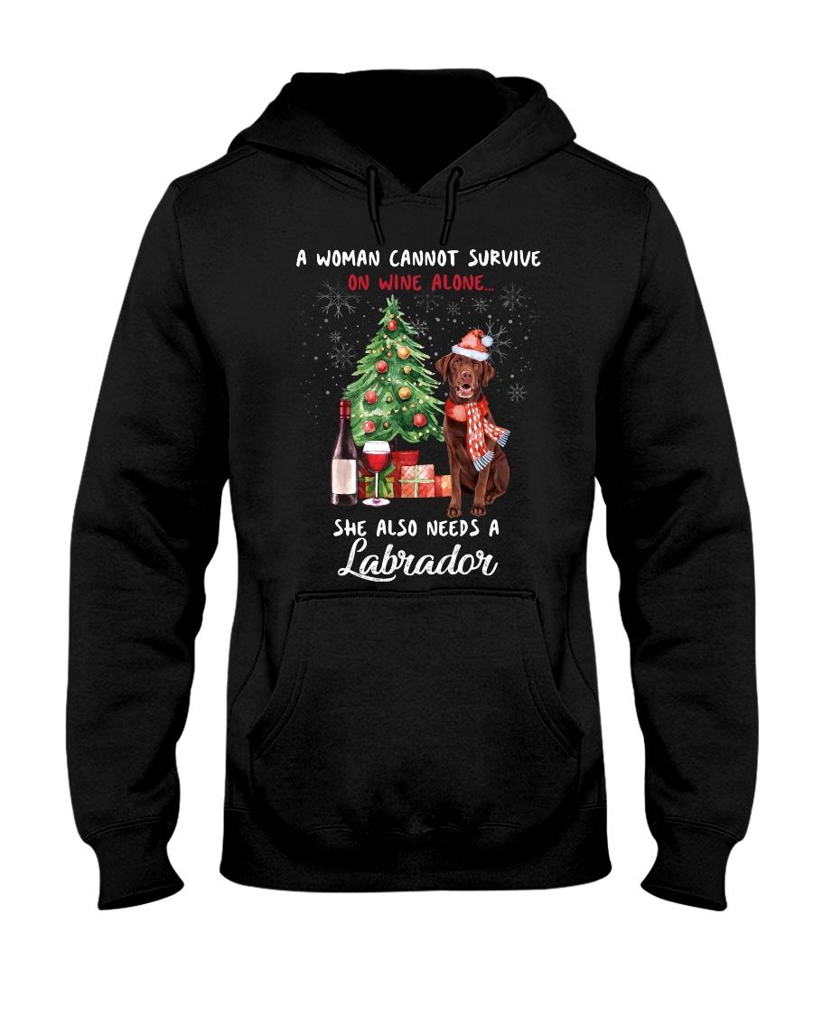 Christmas Wine and Chocolate Labrador Hooded Sweatshirt