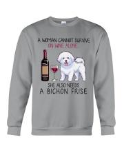 Wine and Bichon Frise 2 Crewneck Sweatshirt thumbnail