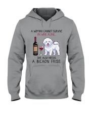 Wine and Bichon Frise 2 Hooded Sweatshirt thumbnail