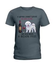 Wine and Bichon Frise 2 Ladies T-Shirt thumbnail