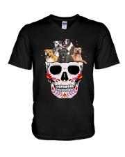 Half Skull Staffordshire Bull Terrier V-Neck T-Shirt thumbnail