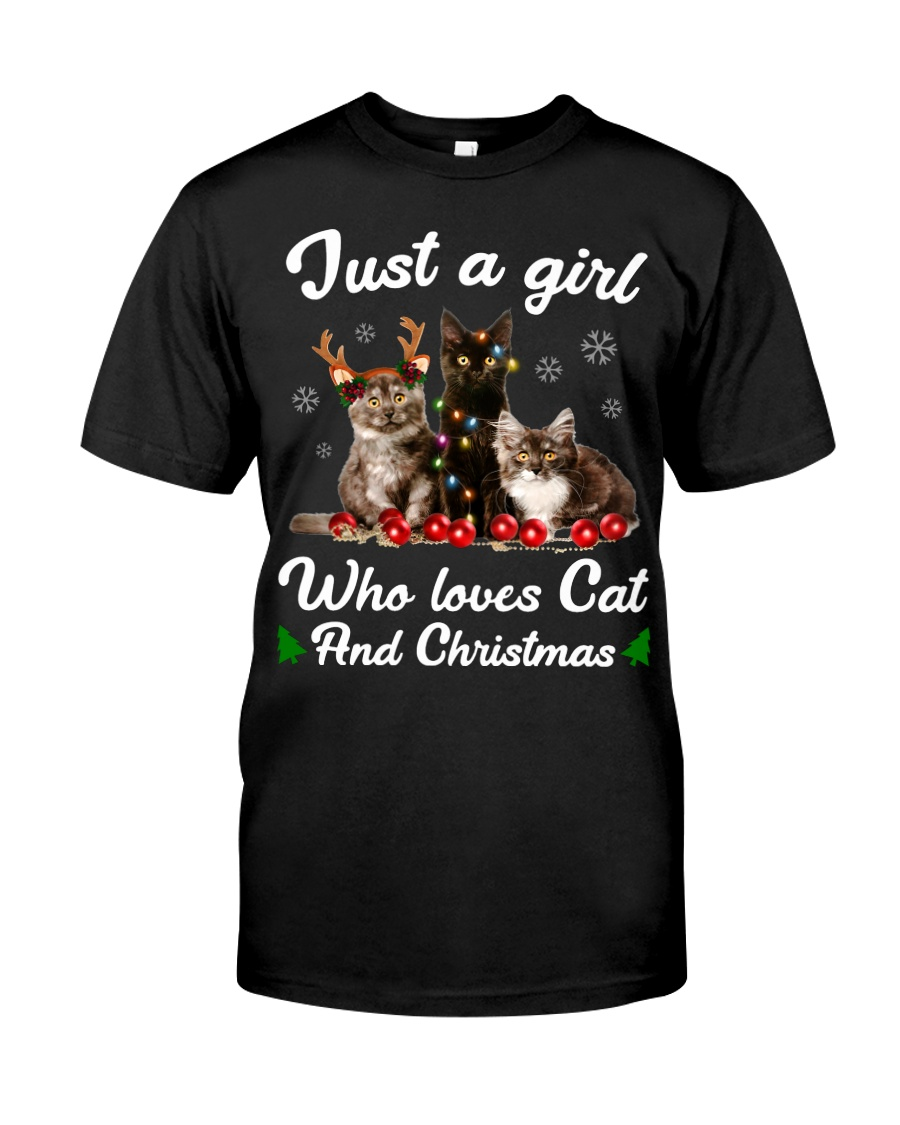 Just A Girl Who Loves Cats and Christmas Classic T-Shirt
