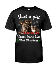 Just A Girl Who Loves Cats and Christmas Classic T-Shirt front