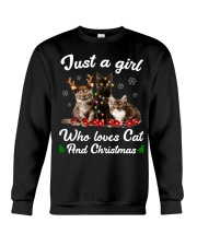 Just A Girl Who Loves Cats and Christmas Crewneck Sweatshirt tile