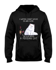 Wine and Persian Cat Hooded Sweatshirt thumbnail