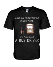 Wine and A Bus Driver V-Neck T-Shirt thumbnail