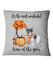 The Most Wonderful Time - Rat Terrier Square Pillowcase thumbnail