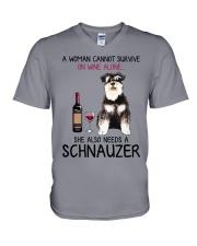 Wine and Schnauzer 4 V-Neck T-Shirt thumbnail