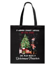 Christmas Wine and Doberman Pinscher Tote Bag thumbnail