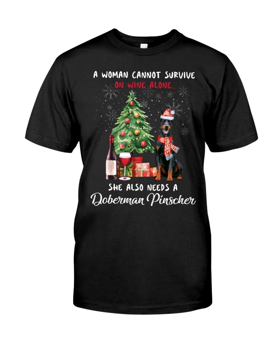 Christmas Wine and Doberman Pinscher Classic T-Shirt