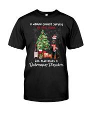 Christmas Wine and Doberman Pinscher Classic T-Shirt front