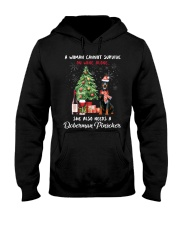 Christmas Wine and Doberman Pinscher Hooded Sweatshirt thumbnail