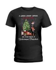 Christmas Wine and Doberman Pinscher Ladies T-Shirt thumbnail