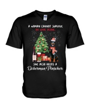 Christmas Wine and Doberman Pinscher V-Neck T-Shirt thumbnail