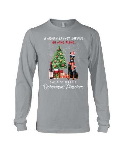 Christmas Wine and Doberman Pinscher