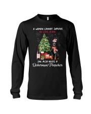 Christmas Wine and Doberman Pinscher Long Sleeve Tee thumbnail