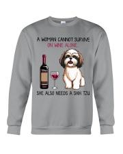 Wine and Shih Tzu 2 Crewneck Sweatshirt thumbnail