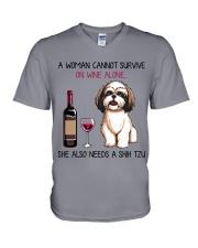 Wine and Shih Tzu 2 V-Neck T-Shirt thumbnail