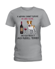 Wine and Jack Russell Terrier 2 Ladies T-Shirt thumbnail