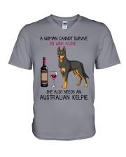 Wine and Australian Kelpie 2 V-Neck T-Shirt thumbnail