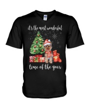 The Most Wonderful Xmas - Yorkie V-Neck T-Shirt thumbnail