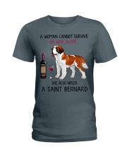Wine and Saint Bernard 2 Ladies T-Shirt tile