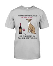 Wine and Italian Greyhound 2 Classic T-Shirt front