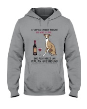 Wine and Italian Greyhound 2 Hooded Sweatshirt tile