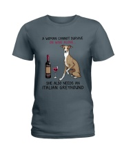 Wine and Italian Greyhound 2 Ladies T-Shirt tile