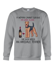 Wine and Airedale Terrier 2 Crewneck Sweatshirt thumbnail