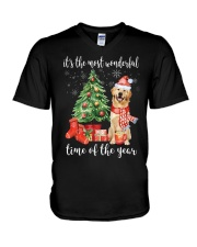 The Most Wonderful Xmas - Golden Retriever V-Neck T-Shirt thumbnail
