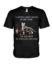 Wine and American Shorthair V-Neck T-Shirt thumbnail