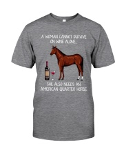 Wine and American Quarter Horse Classic T-Shirt front