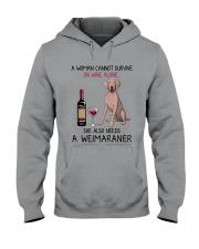 Wine and Weimaraner 2 Hooded Sweatshirt thumbnail
