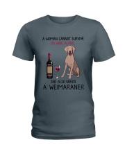 Wine and Weimaraner 2 Ladies T-Shirt thumbnail