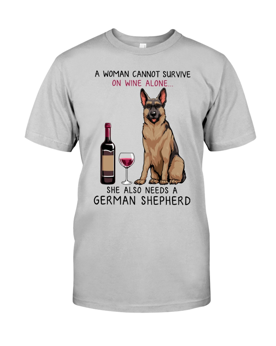 Wine and German Shepherd 2 Classic T-Shirt