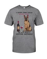 Wine and German Shepherd 2 Classic T-Shirt tile