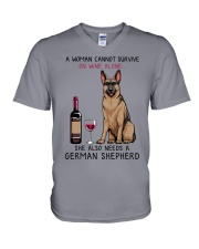 Wine and German Shepherd 2 V-Neck T-Shirt thumbnail