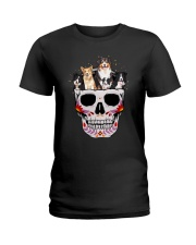 Half Skull Border Collie  Ladies T-Shirt thumbnail