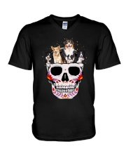 Half Skull Border Collie  V-Neck T-Shirt thumbnail