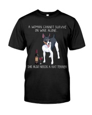 Wine and Rat Terrier Classic T-Shirt front