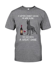 Wine and Great Dane 3 Classic T-Shirt front
