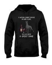 Wine and Great Dane 3 Hooded Sweatshirt thumbnail