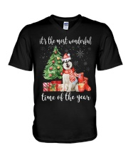 The Most Wonderful Xmas - Alaskan Malamute V-Neck T-Shirt thumbnail