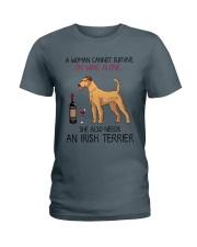 Wine and Irish Terrier 2 Ladies T-Shirt thumbnail