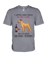 Wine and Irish Terrier 2 V-Neck T-Shirt thumbnail