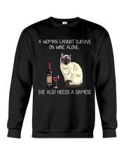 Wine and Siamese Crewneck Sweatshirt thumbnail