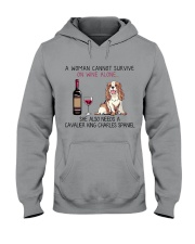 Wine and Cavalier 2 Hooded Sweatshirt thumbnail