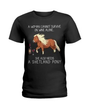 Wine and Shetland Pony Ladies T-Shirt tile